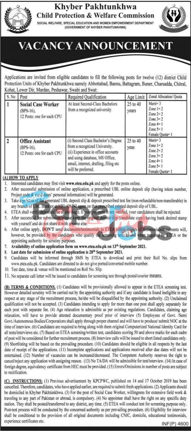 Child Protection and Welfare Commission Jobs 2021