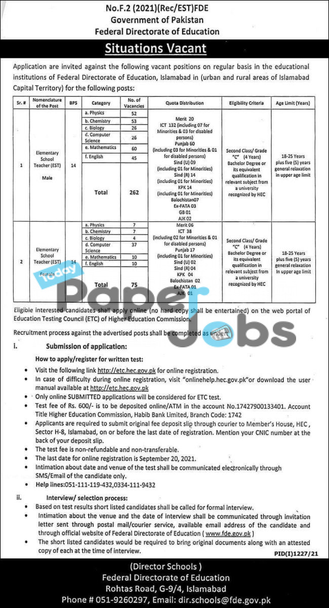 Federal Directorate Education Jobs 2021