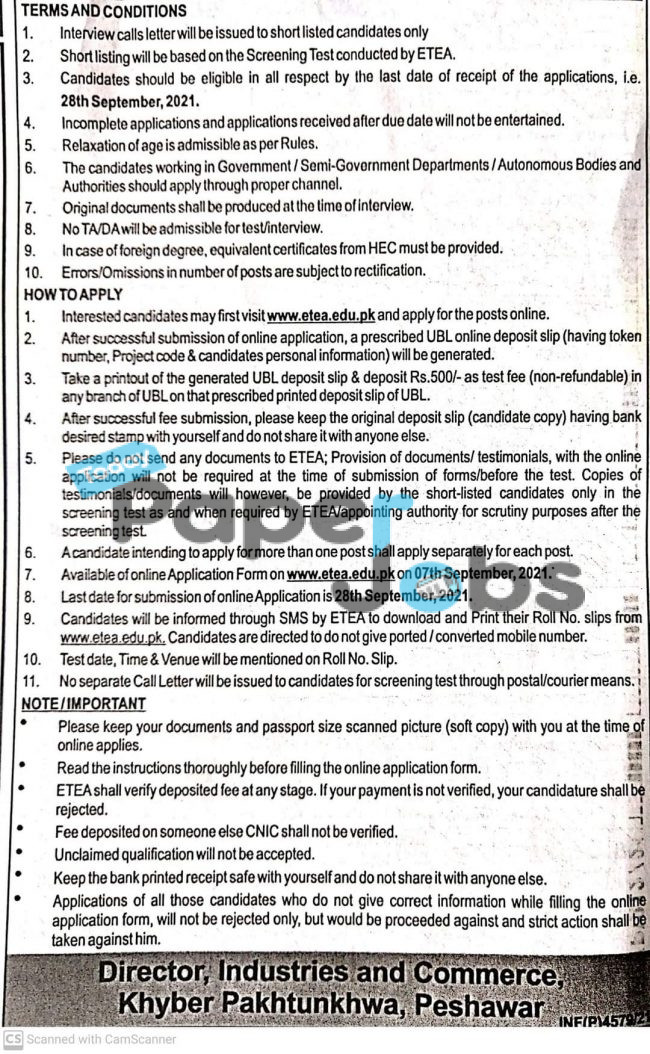Industries Commerce and Technical Education Kpk Jobs 2021 in Khyber Pakhtunkhwa 7