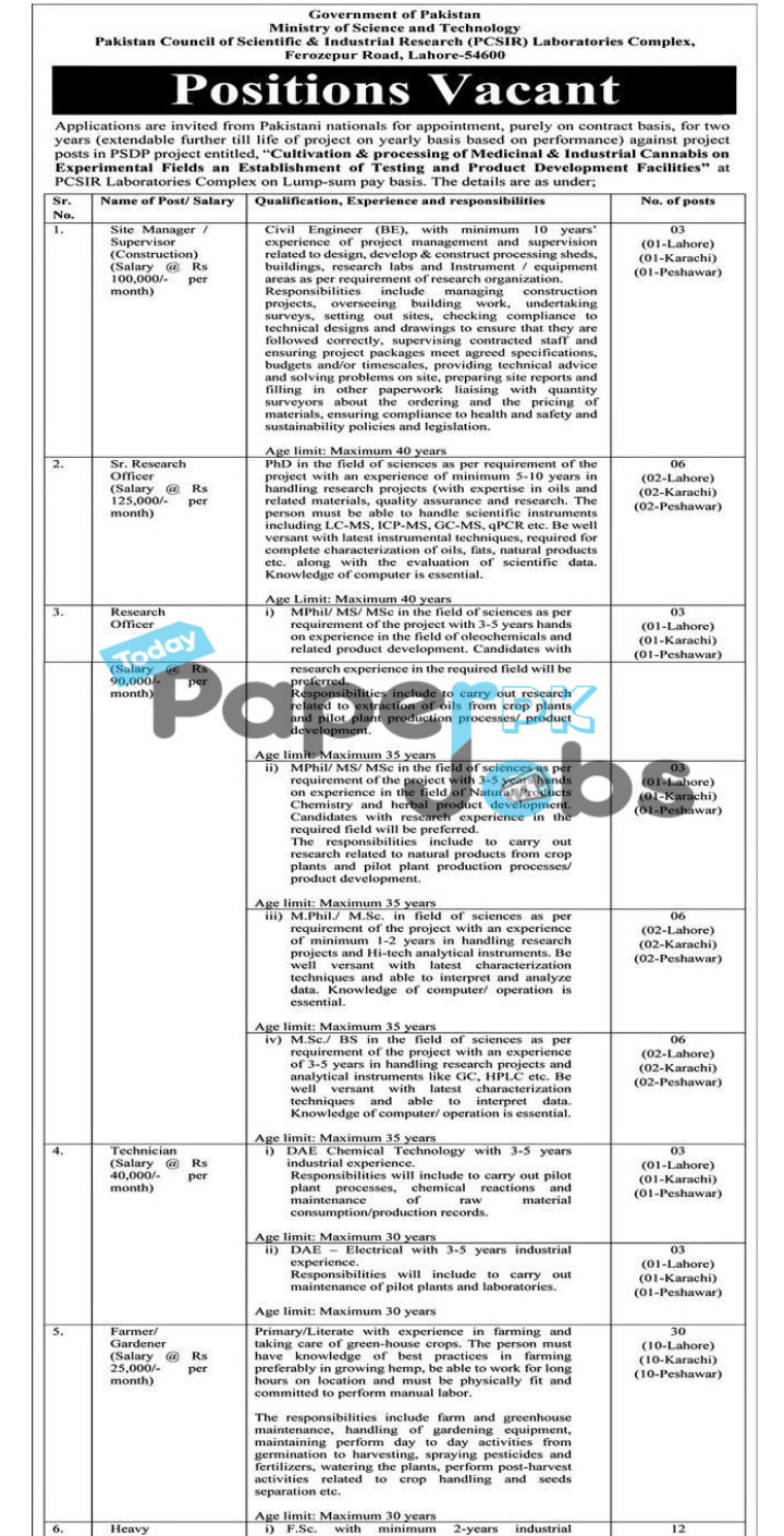 Latest Jobs in Pakistan 2021 – Ministry of Science and Technology Jobs 2021