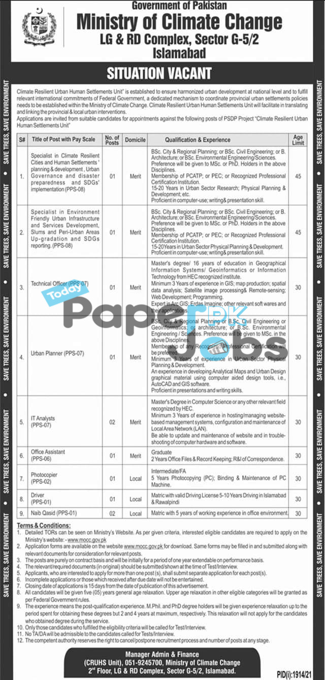 Ministry of Climate Change MOCC Jobs 2021 – Today Govt  Jobs in Pakistan 2021