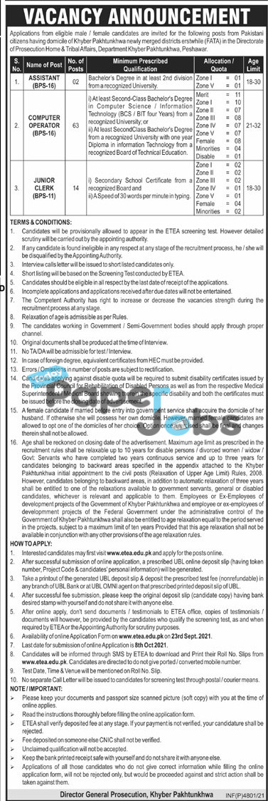 Director General Prosecution Department Jobs 2021 in Khyber Pakhtunkhwa