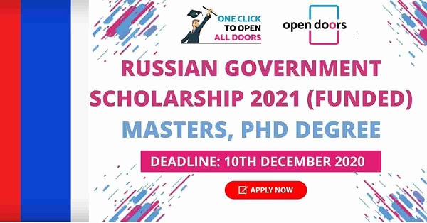Russia Government Scholarships 2021 for International Students Masters and PhD | Fully Funded