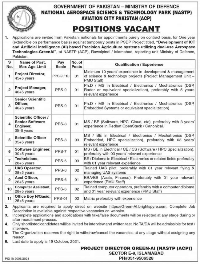 Ministry of Defence MOD Jobs 2021 - National Aerospace Science Technology Park NASTP Jobs 2021